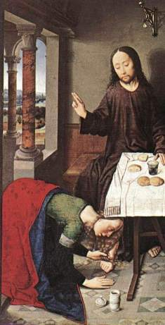 "A ""sinner"" washes Jesus' feet with her tears, depicted in ""Christ in the House of Simon by Dieric Bouts"