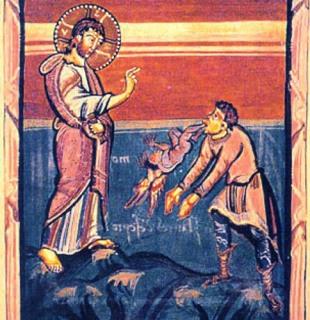 Medieval book illustration of Christ Exorcising the Gerasenes demoniac