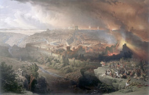 """""""The Siege and Destruction of Jerusalem"""" in A.D. 70, by David Roberts (1850)"""