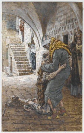 The Return of the Prodigal Son (Le retour de l'enfant prodigue) by James Tissot, between 1886 and 1894. Kept at Brooklyn Museum.